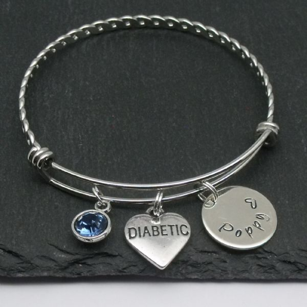 Diabetic charm name bangle bracelet with personalised birthstone